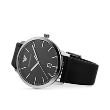 Armani Ruggero Black Leather Gents Watch AR1193