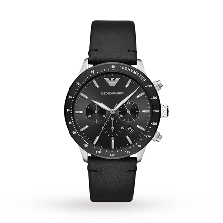 Armani Mario Black Leather Gents Watch AR11243