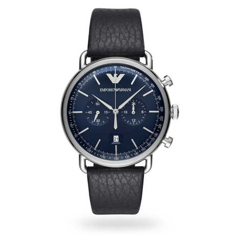 Armani Renato Black Leather and Blue Dial Gents Watch AR11105