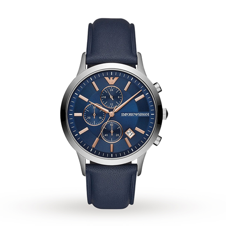 Armani Renato Blue Leather Gents Watch AR11216