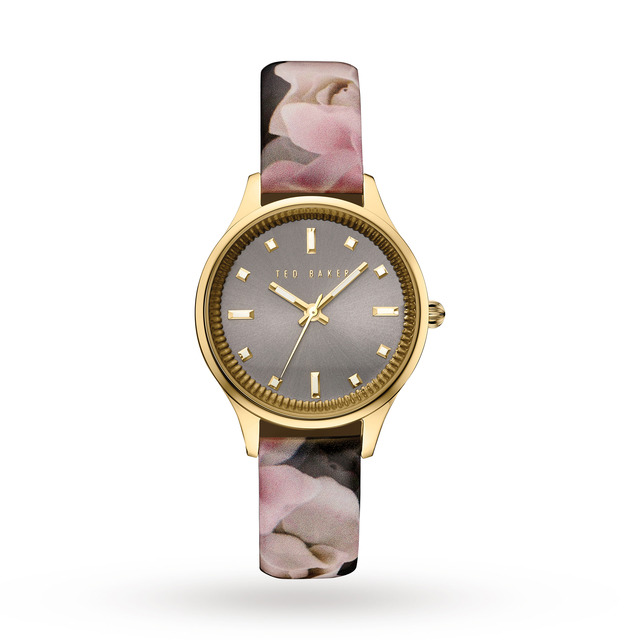 Ted Baker Ladies Rose Print Patent Leather Strap Watch