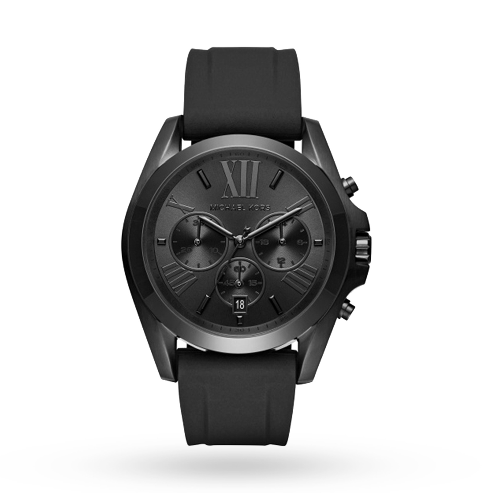 Michael Kors Bradshaw Black IP and Black Silicone Chronograph