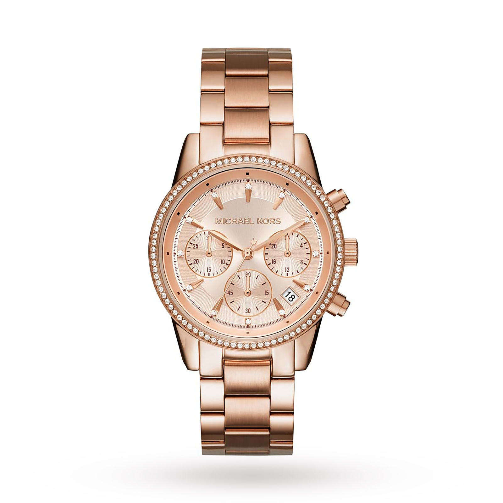 Michael Kors Ladies Ritz Rose Gold Plated Chronograph ...