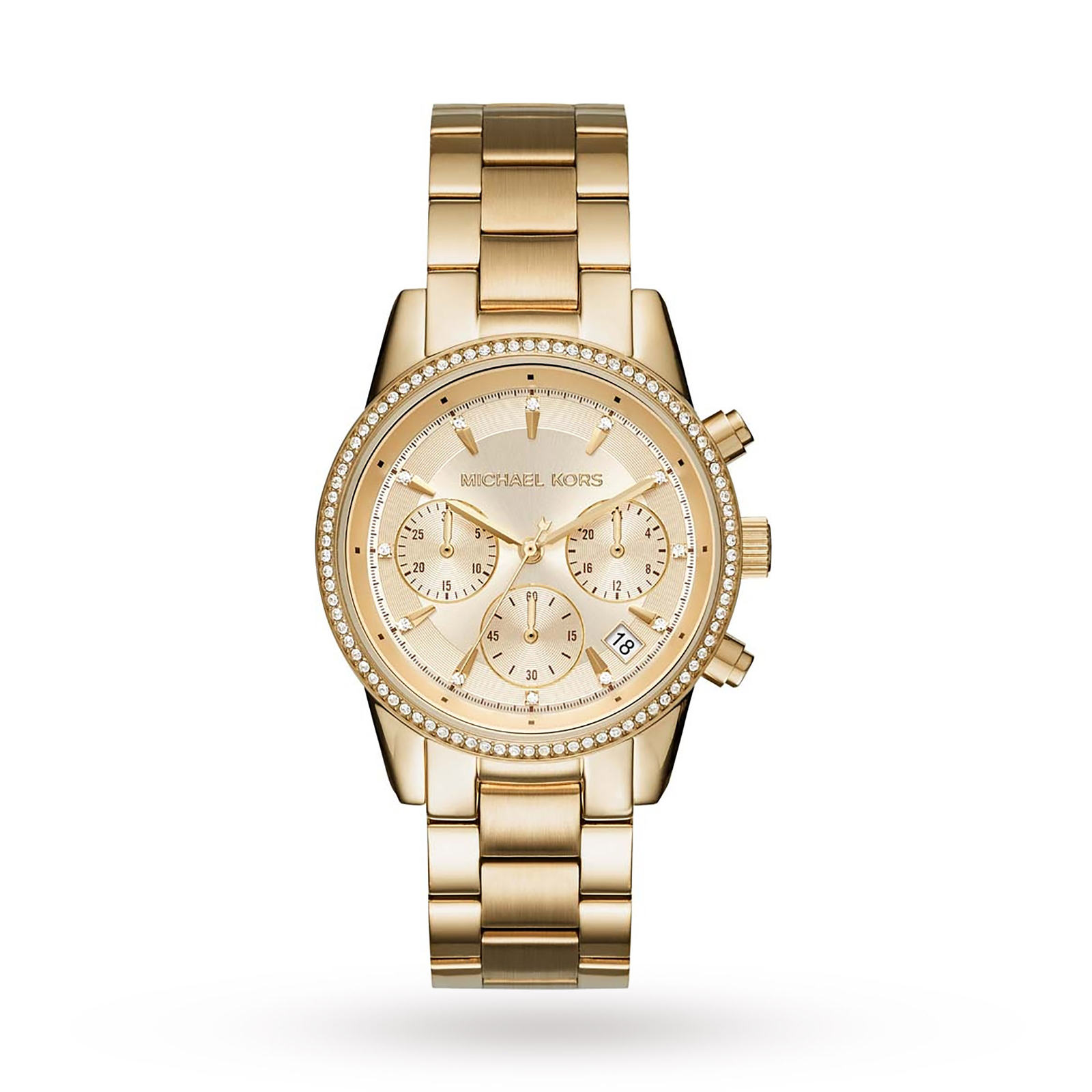 Michael Kors Ladies Ritz Gold Plated Chronograph Watch MK6356