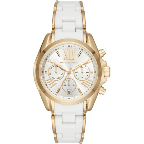 Michael Kors Gold-Tone and White Silicone Ladies Watch