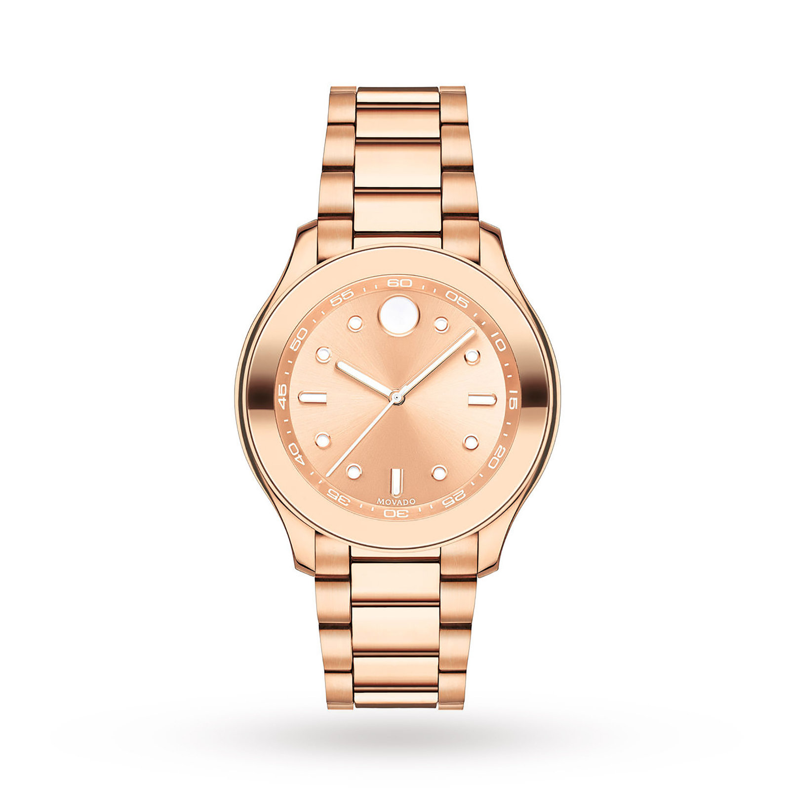 Image of Movado Bold Rose Gold IP Stainless Steel Ladies Watch