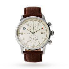 Paul Smith Men's Block Leather Strap Chronograph Watch