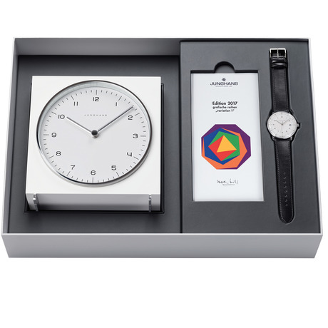 Junghans Mens Max Bill 2017 Edition Clock Gift Set Alarm