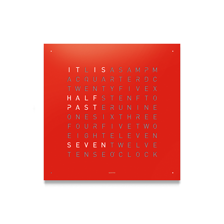 QLOCKTWO Classic Steel Powder Coated Clock - Red Pepper