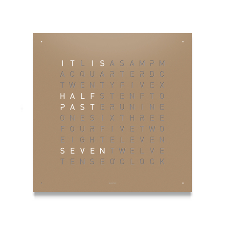 QLOCKTWO Classic Steel Powder Coated Clock - Hazelnut