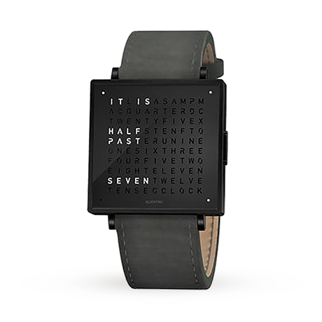 QLOCKTWO 35mm Black Steel Wristwatch