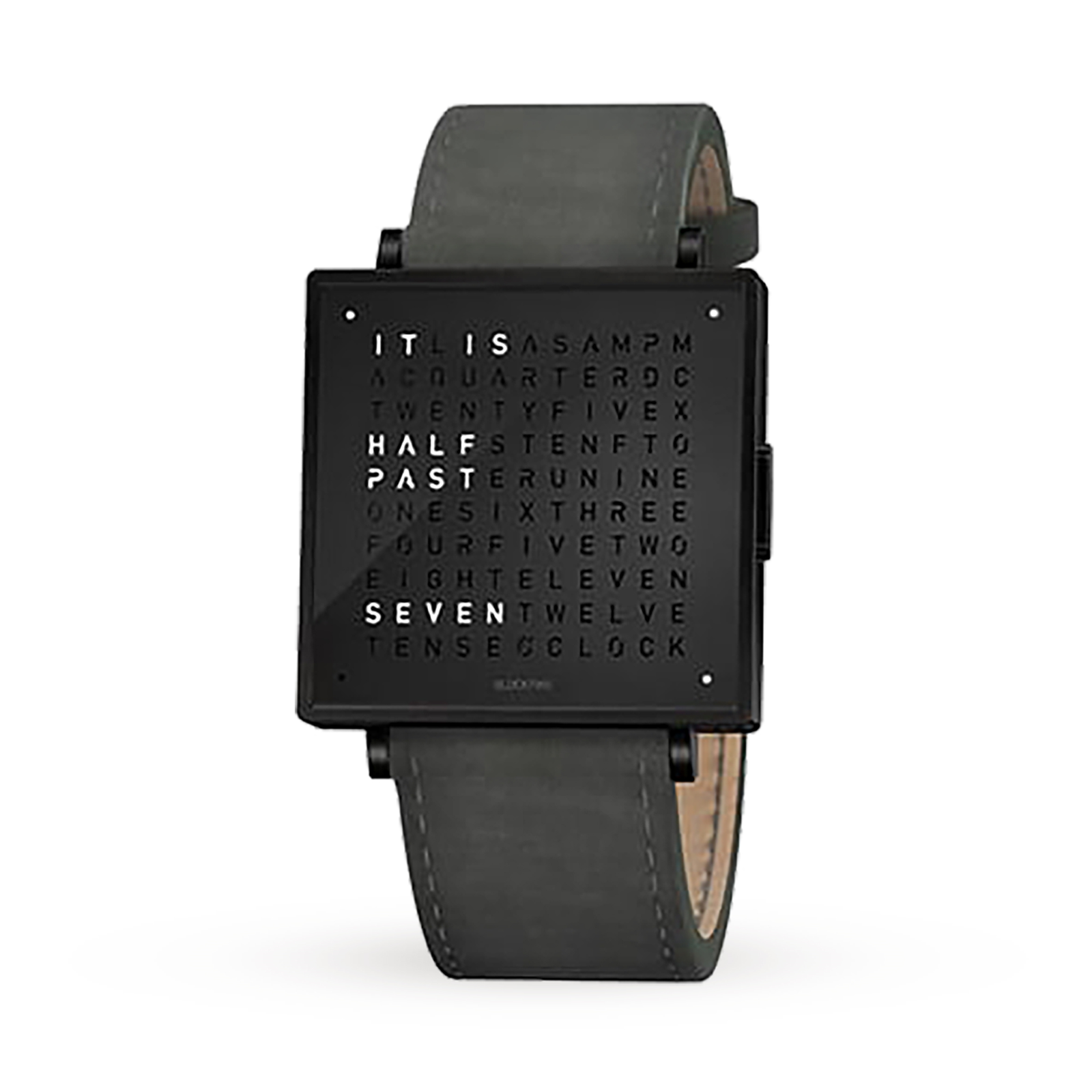 QLOCKTWO 35mm Black Steel Suede Anthracite Wristwatch