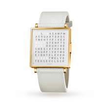 QLOCKTWO 35mm Gold White Wristwatch