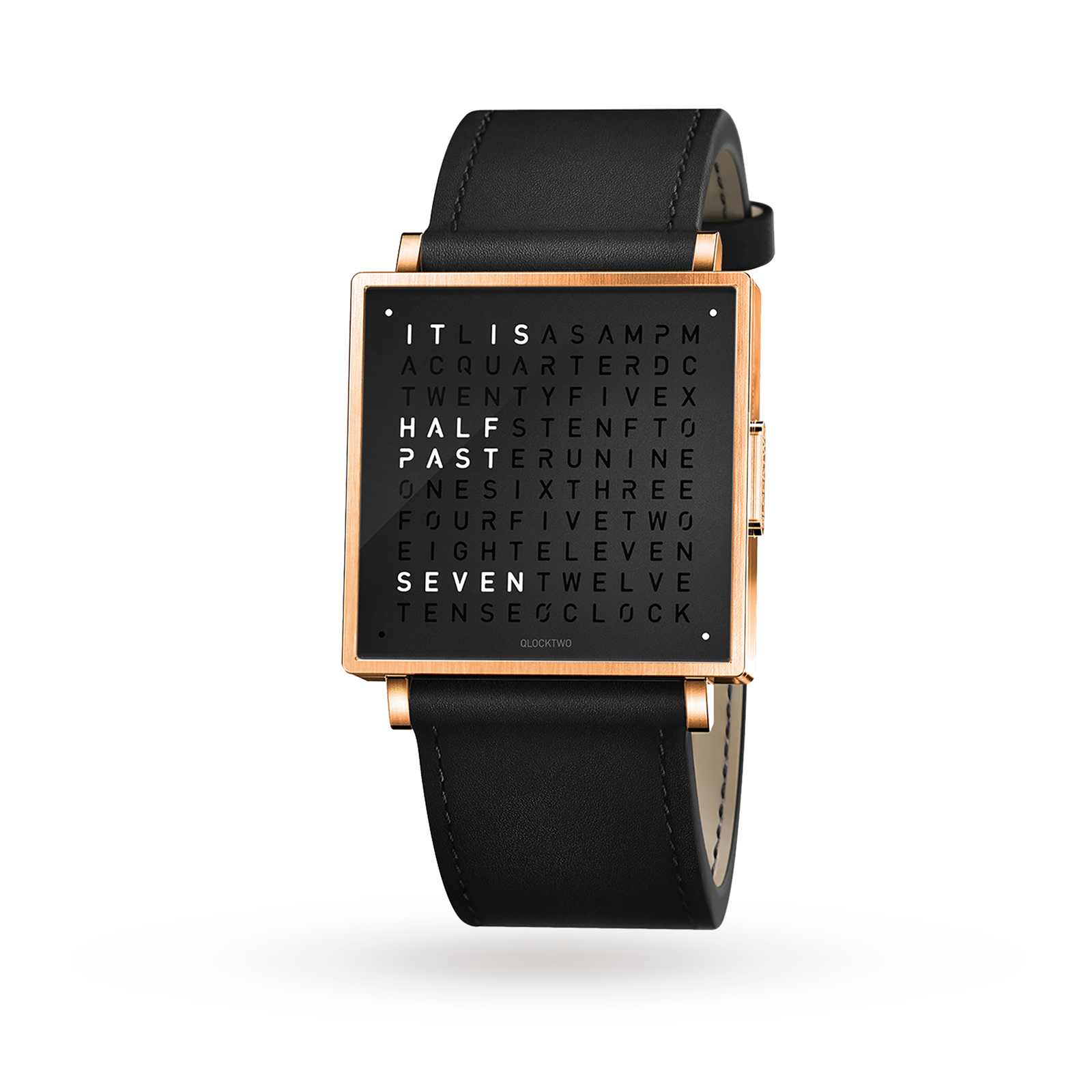 QLOCKTWO 35mm Rose Black Wristwatch