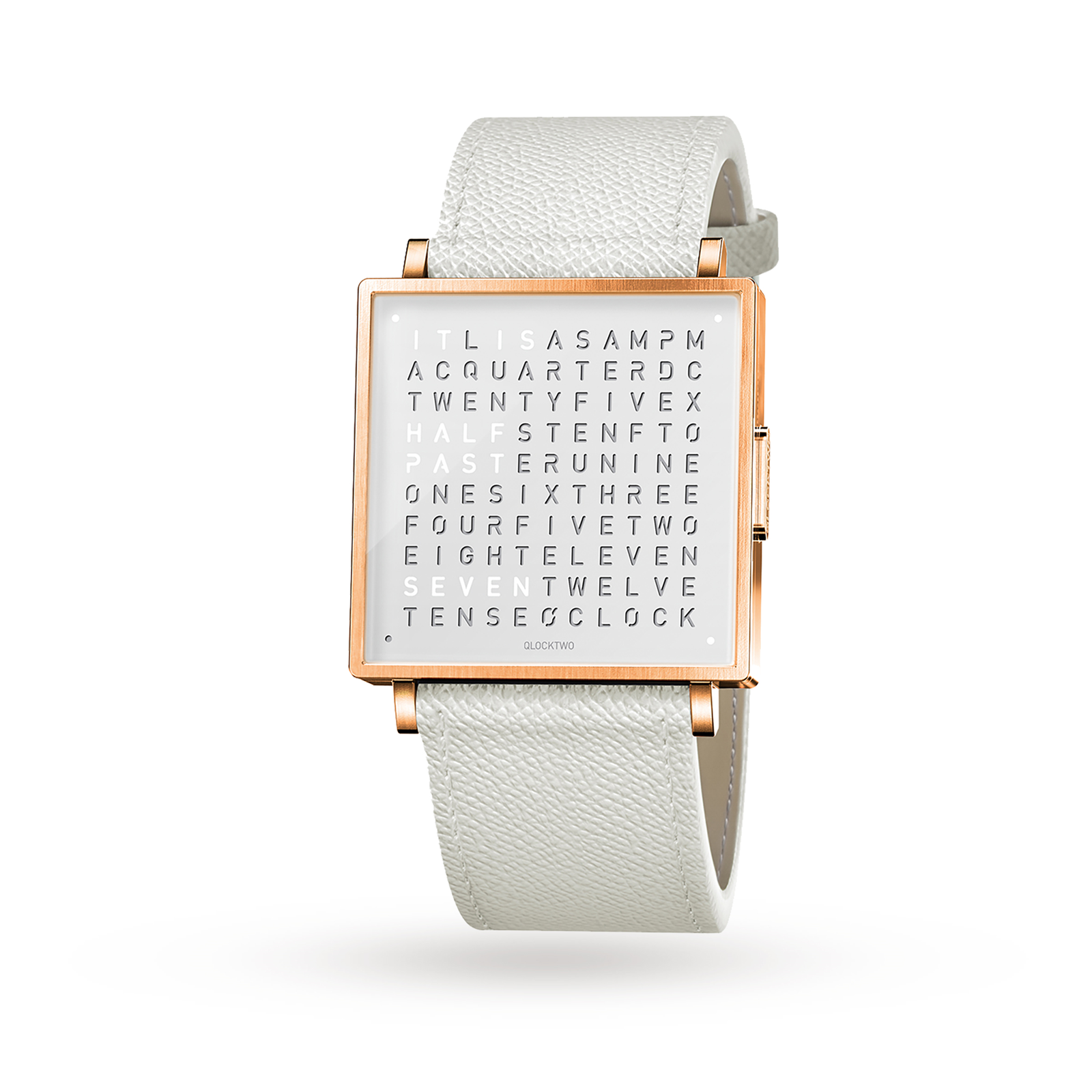 QLOCKTWO 39mm Rose Fine Grain White Wristwatch