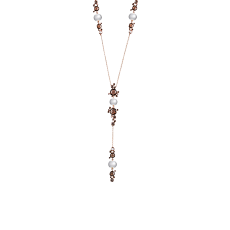 Damiani 18ct Gold Brown Diamond Smokey Quartz and Pearl Necklace