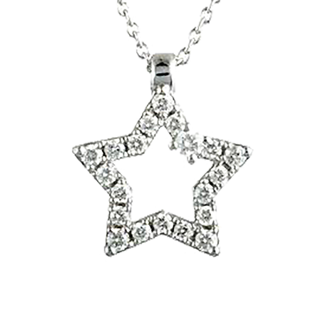 Damiani 18ct White Gold 0.59cttw Diamond Stella Star Necklace