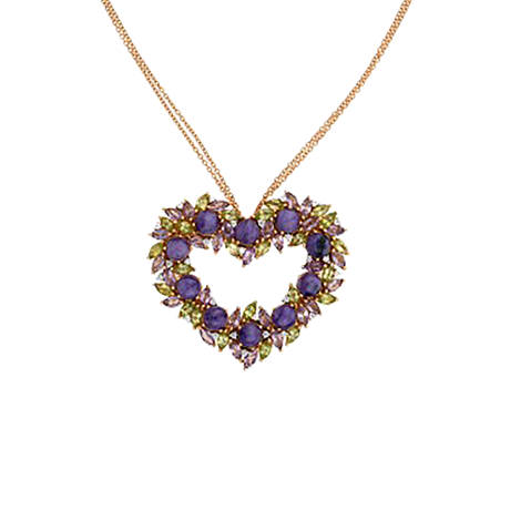 Damiani 18ct Rose Gold 0.36cttw Diamond Amethyst Peridot Heart Necklace