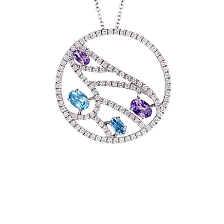 Damiani Battito 18ct White Gold 0.89cttw Diamond Topaz and Amethyst Pendant