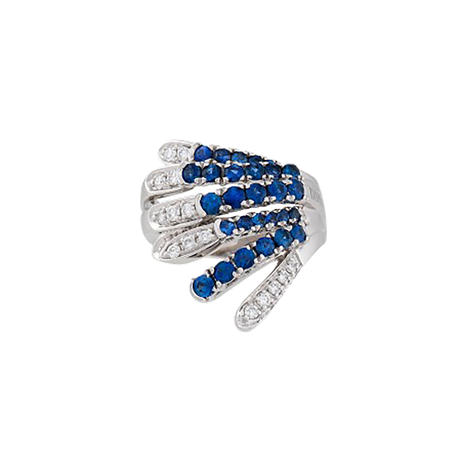 Damiani 18ct White Gold 0.35cttw Diamond and Sapphire Ring - Ring Size O