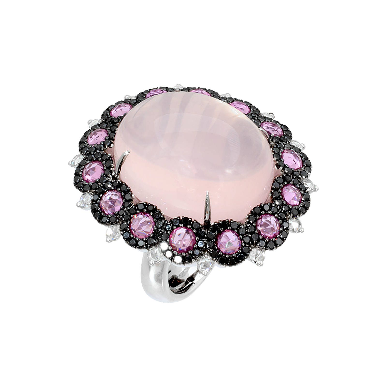 Damiani 18ct White Gold Pink Sapphire Quartz and Diamond Ring - Ring Size O
