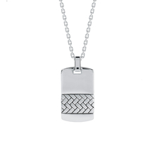 Sterling Silver Woven Dog Tag Necklace