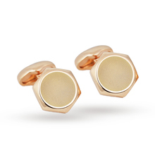 Babette Wasserman Hexagon Button Cufflinks Rose Gold Plated