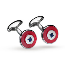 Babette Wasserman Red Enamel Button Cufflinks