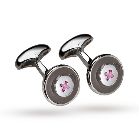 Babette Wasserman Grey Enamel Button Cufflinks