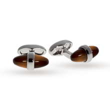 Babette Wasserman Tiger Eye Sleek Bullet Cufflinks