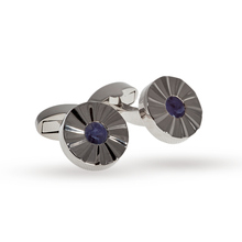 Babette Wasserman Rhodium Plated and Solalite Whirlwind Cufflinks