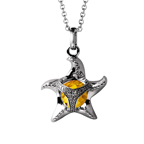 Di Modolo Icona Silver Citrine and Diamond Starfish Charm Pendant