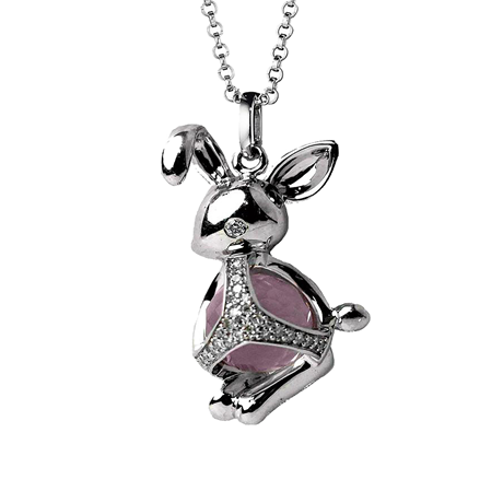 Di Modolo Silver Quartz and Diamond Rabbit Charm Pendant
