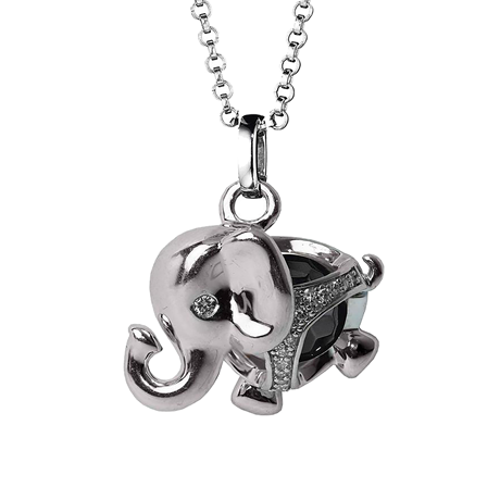 Di Modolo Silver Onyx and Diamond Elephant Charm Pendant
