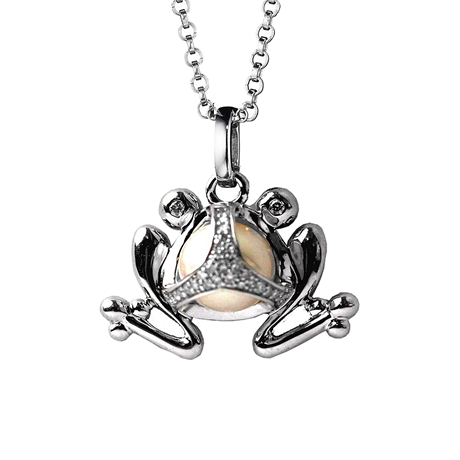 Di Modolo Silver Fresh Water Pearl and Diamond Frog Charm Pendant