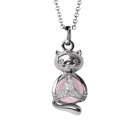 Di Modolo Silver Quartz and Diamond Cat Charm Pendant