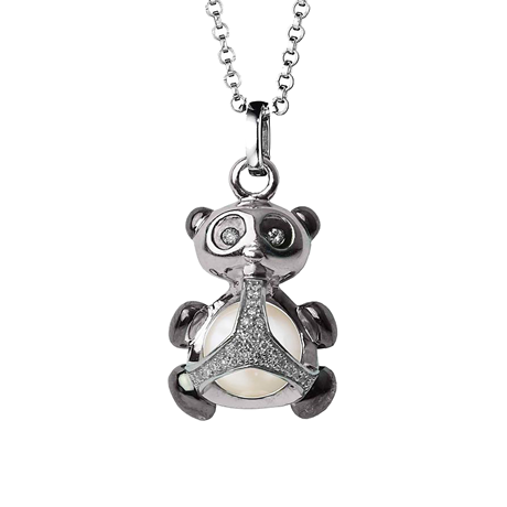 Di Modolo Silver Fresh Water Pearl and Diamond Panda Charm Pendant