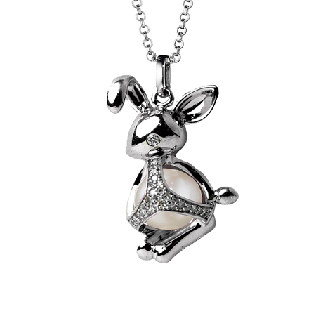 Di Modolo Silver Fresh Water Pearl and Diamond Rabbit Charm Pendant