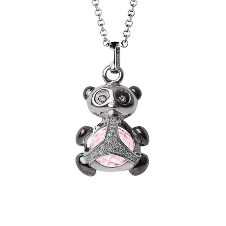 Di Modolo Silver Quartz and Diamond Panda Charm Pendant