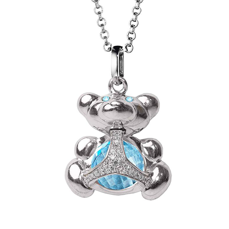 Di Modolo Silver Blue Topaz and Diamond Bear Charm Pendant