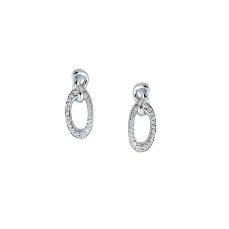 Di Modolo Nodo 18ct White Gold 0.15cttw Diamond Pave Drop Earrings