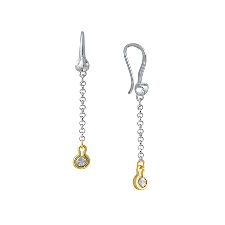 Di Modolo Diamante Silver and Gold Diamond Drop Earrings