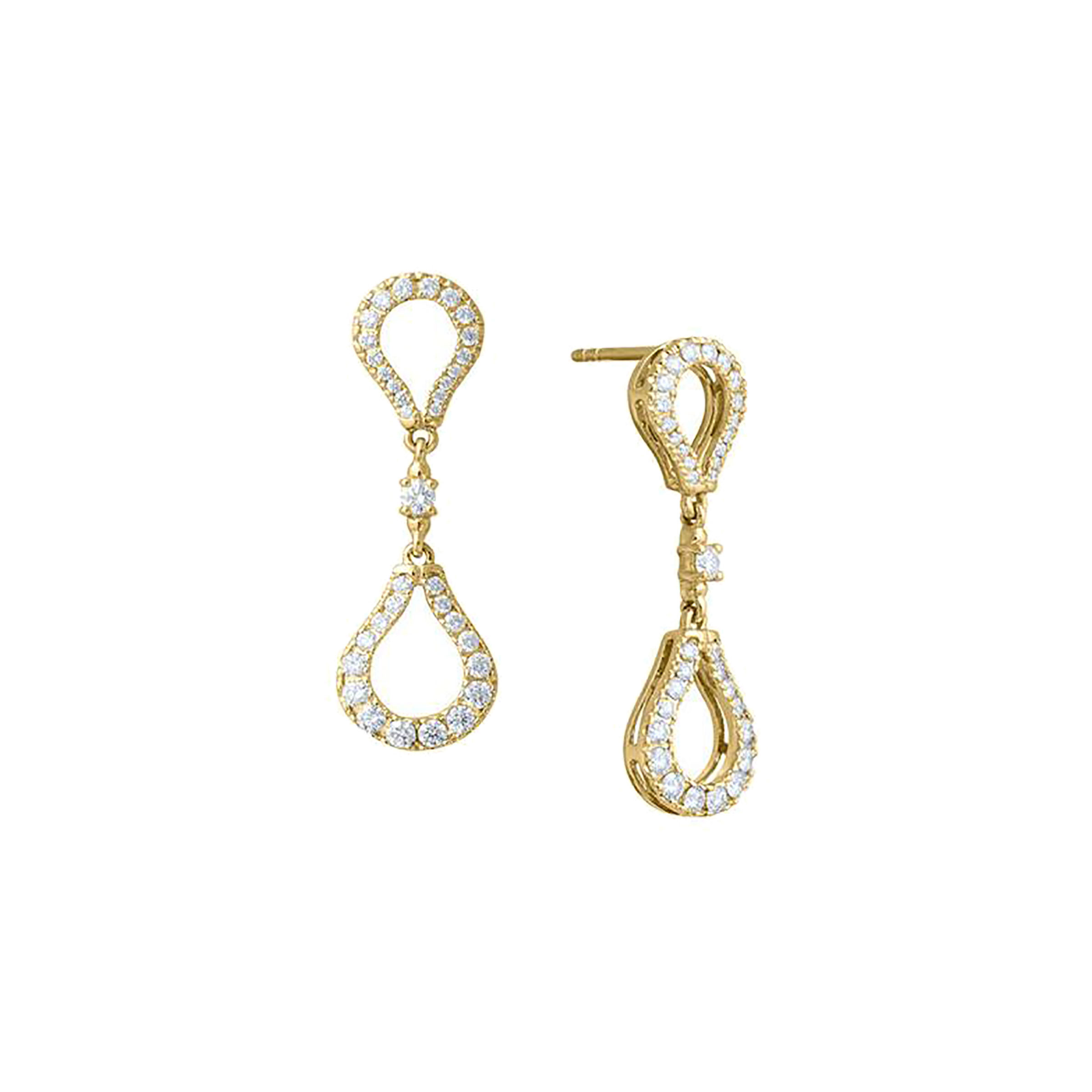 Di Modolo Fiama 18ct Yellow Gold 1.15cttw Diamond Pave Drop Earrings