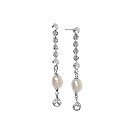 Di Modolo Diamante Silver Fresh Water Pearl and Diamond Cut Drop Earrings