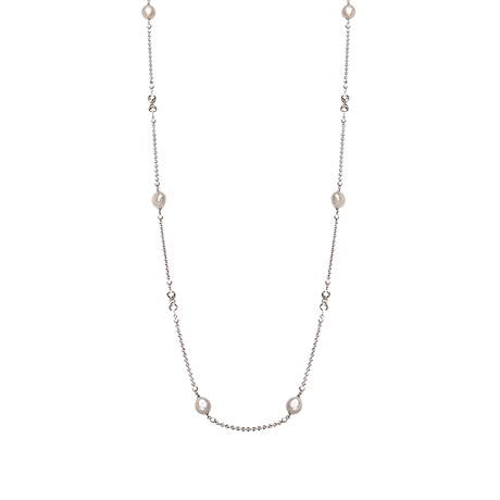 Di Modolo Diamante Silver Fresh Water Pearl 42 Inch Necklace