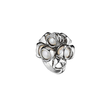 For Her - Di Modolo Icona Silver Pearl and Diamond Cluster Ring - Ring Size M - R051-S2-PE