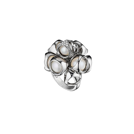 Di Modolo Icona Silver Pearl and Diamond Cluster Ring - Ring Size M
