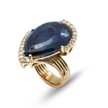 Ponte Vecchio Diva London blue topaz and diamond set ring in 18 carat rose gold