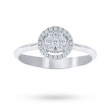 Ponte Vecchio brilliant cut 0.15 carat total weight diamond cluster halo ring in 18 carat white gold