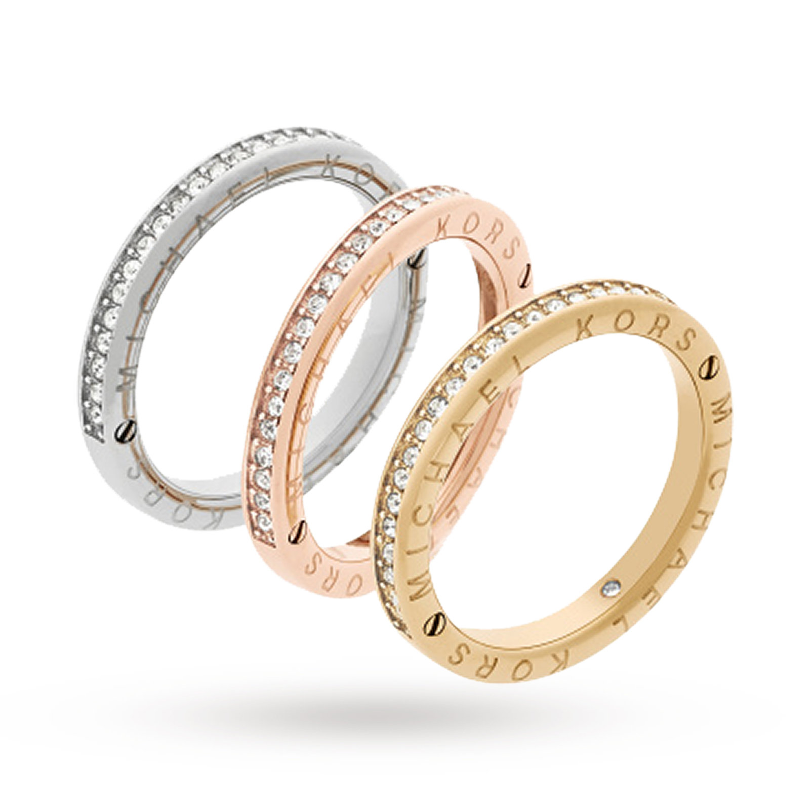product barrel jewelry gallery tone ring lyst tritone michael rings in kors tri normal metallic